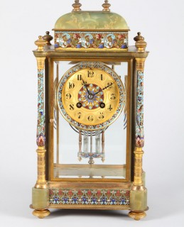 French 19th century four glass green onyx and champleve enamel mantel clock, Sold £1300.jpg