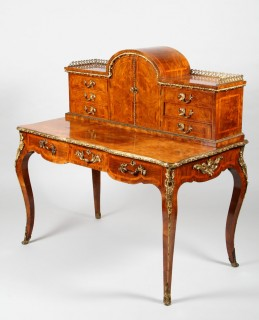 Victorian walnut, Kingswood cross banded and gilt metal mounted writing table, Sold £2,000.jpg
