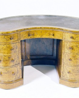 Burr walnut kidney shaped wtiting desk by Dixon, Sold 30,000