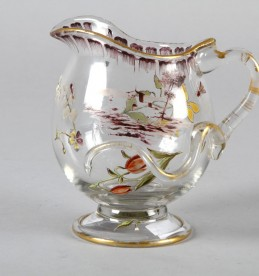 Emile Galle 1846-1904 enamelled clear glass cream jug, Sold £500