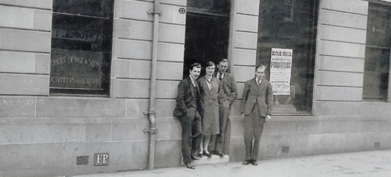 Thomas Callan 1st left outside Dewar Auctions, Kyle Street, Ayr 1920's