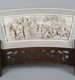 19th Century Chinese carved ivory plaque on stand. Sold £5200.jpg