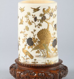 19th Century Japanese gilt lacquered ivory tusk vase, Sold £750