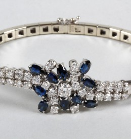 Ladies diamond and sapphire bracelet in 14 carat white gold, Sold £2400.jpg