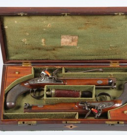Cased pair of very fine officers Flint lock pistols, Sold £6400.jpg