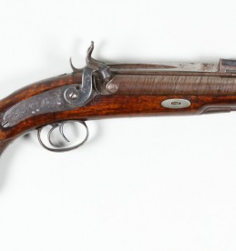 19th Century double barrelled percusion pistol with springed bayonet Sold £1200.jpg