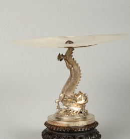 Pair chinese silver and mother of pearl comports. Sold £900.jpg